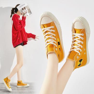 美駱世家高幫帆布鞋女鞋2019秋新款潮鞋帆布鞋網紅學生布鞋板鞋ins潮YG-K230
