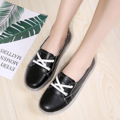 新款真皮小白鞋時尚低幫休閑女鞋系帶女鞋MN-Z708