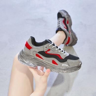 MIJIins2019網紅爆款女鞋韓版時尚情侶做舊老爹鞋厚底運動休閑鞋GL-2098