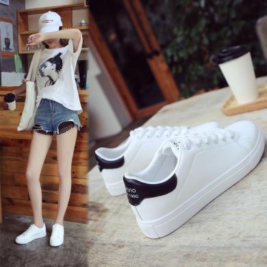 搭歌街拍2019秋季新款小白鞋女百搭韓版學生系帶板鞋平底運動休閑女鞋K6608