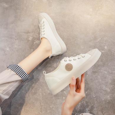 OKKO潮牌女鞋萊卡低幫小白鞋女韓版學生系帶糖果色女板鞋LC788