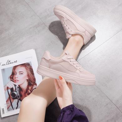 新款休闲透气板鞋女时尚网布拼接小白鞋时尚女鞋YC-S66