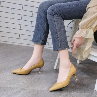 新款四季女鞋氣質通勤優雅細跟女鞋高跟單鞋女DX96108