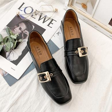 新款皮帶扣套腳單鞋女一腳蹬淺口單鞋女粗跟女鞋DY1308