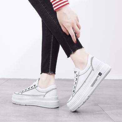 新款休閑厚底板鞋女時尚經典小白鞋時尚女鞋松糕鞋女YC-A01