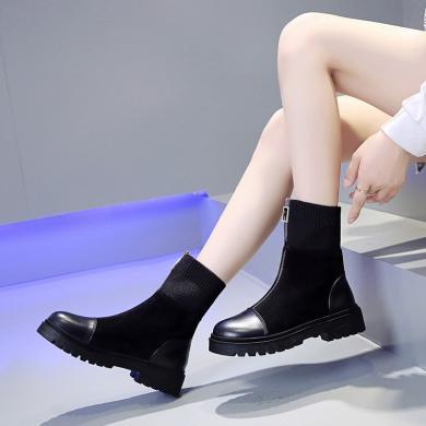 新款前拉鏈中靴飛織彈力拼接馬丁靴靴厚底防滑ins女機車靴DM668A