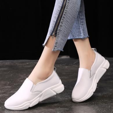 MIJI2019新款女鞋百搭休閑套腳運動風小白鞋女鞋增高懶人鞋MJL-79788