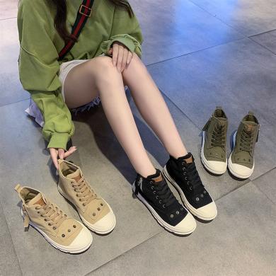 搭歌2019秋季新款馬丁單靴女網紅帥氣秋鞋小短靴百搭瘦瘦秋款英倫風 KB8