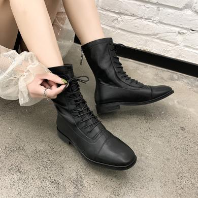 新款馬丁靴英倫風中筒女靴機車靴高幫系帶女鞋DM826