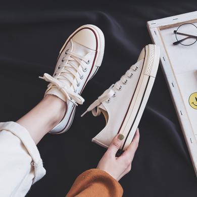 搭歌黑色基礎帆布鞋子女2019潮鞋新款秋鞋韓版學生板鞋百搭布鞋子 K1970