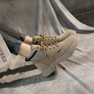 新款馬丁靴女學院風高幫鞋粗跟機車靴學生馬丁靴女鞋DM-A-65
