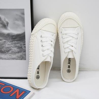 新款餅干鞋休閑半拖女鞋小白鞋休閑帆布鞋女YXF8037