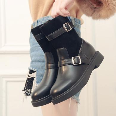 新款拼接中筒女靴系帶圓頭韓版女鞋皮帶扣女靴DM-XJ-828