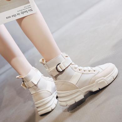 新款馬丁靴女時尚高幫鞋帆布鞋厚底沙漠靴學生馬丁靴女鞋YXF-B019