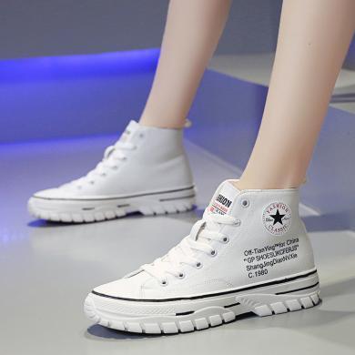 ins網紅爆款女鞋2019秋季新款休閑運動高幫女布鞋平底學生鞋YT743