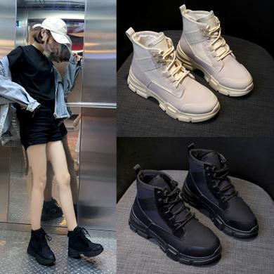 搭歌馬丁靴女秋季薄款透氣英倫風2019新款沙漠靴百搭學生帆布短靴 KD116