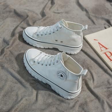 搭歌馬丁單靴女2020秋冬短靴百搭帆布秋季靴子英倫風帥氣瘦瘦靴女 KK08