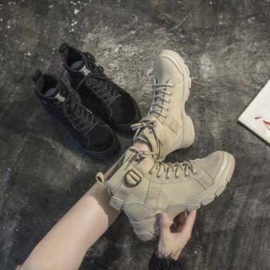 搭歌馬丁靴女2019新款百搭英倫風高幫潮短靴秋冬休閑女單靴子厚底 K6006