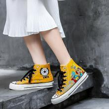ins网红爆款情侣舒?#26159;?#20415;帆布鞋高帮涂鸦布鞋时尚运动休闲鞋女鞋LD-B139