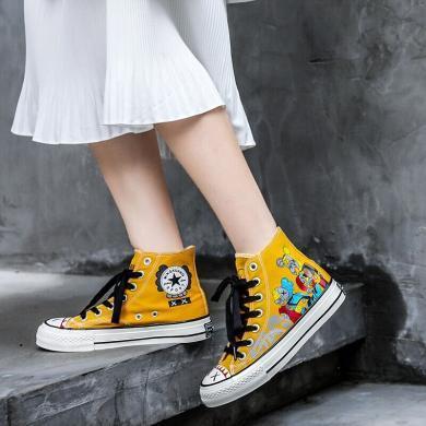 ins網紅爆款情侶舒適輕便帆布鞋高幫涂鴉布鞋時尚運動休閑鞋女鞋LD-B139