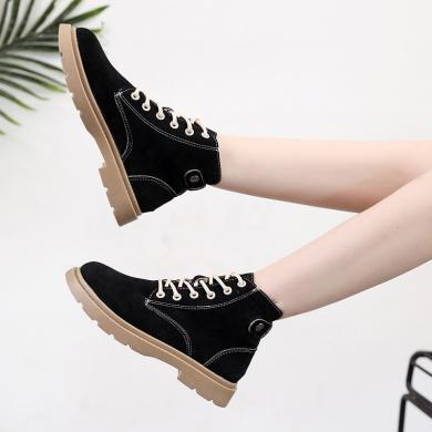 新款馬丁靴女學院風高幫鞋粗跟機車靴學生馬丁靴女鞋XL-G99