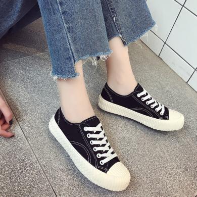 新款低幫休閑布鞋餅干鞋學生帆布女鞋YXF-T-86