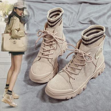 MIJI2019網紅爆款機車馬丁靴女加絨保暖英倫風百搭學生磨砂短靴女LC-889