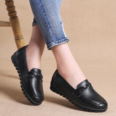 MIJI新款真皮女鞋纯黑小皮鞋浅口妈妈鞋懒人套脚豆豆鞋MJL-699