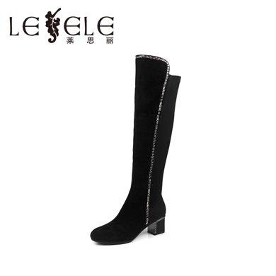 LESELE/萊思麗 冬季時尚女鞋 彈力布水鉆粗高跟長靴KE51-LD4196