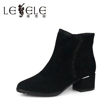 LESELE/萊思麗冬季新款羊皮女短靴 簡約燙鉆舒適粗方跟短靴KE81-LD3142