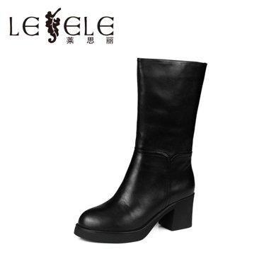 LESELE/萊思麗 冬款休閑牛皮女靴 防水臺粗跟高跟女鞋中筒靴KE51-LD0665