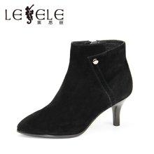 LESELE/莱思丽新款冬季羊猄女靴 圆头拉链细跟短靴高跟职业靴KE61-LD1078