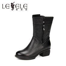 LESELE/萊思麗冬季新款牛皮女靴子潮流女鞋 休閑拉鏈粗跟中筒靴SZJ61-LD0182