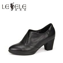 LESELE/莱思丽新款冬季牛皮女靴子 粗跟舒适靴防水台套脚短靴WE81-LA0204