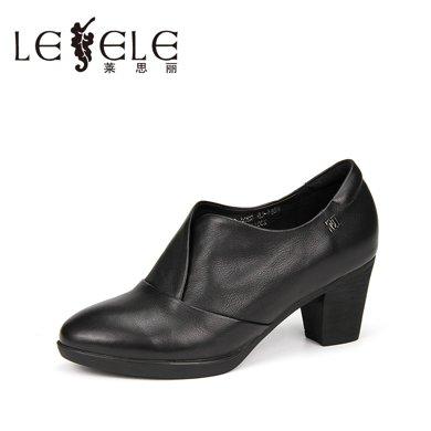 LESELE/萊思麗新款冬季牛皮女靴子 粗跟舒適靴防水臺套腳短靴WE81-LA0204
