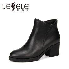 LESELE/莱思丽新款冬季牛皮女鞋 圆头粗跟职业靴加绒高跟短靴KE61-LD0155