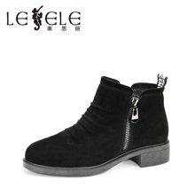 LESELE/莱思丽新款冬季羊猄女鞋 圆头粗跟职业靴中跟加绒短靴KE61-LD0175