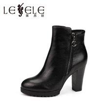 LESELE/莱思丽新款冬季牛皮女靴 圆头拉链粗跟短靴高跟职业靴KE61-LD9849