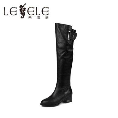 LESELE/莱思丽冬季新款欧美牛皮女靴 尖头平跟金属扣女长靴LD9513