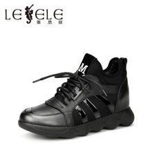 LESELE/莱思丽秋季牛皮弹力布女鞋 新款圆头系带厚底中跟短靴MA61-LD0375