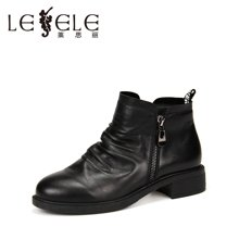 LESELE/莱思丽新款冬季牛皮女鞋 圆头粗跟职业靴中跟加绒短靴KE61-LD0172