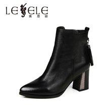 LESELE/莱思丽冬新款牛皮女靴子欧美女鞋 圆头粗跟高跟女短靴VSH51-LD8707