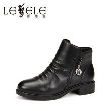 LESELE/莱思丽新款冬季羊皮女鞋 圆头粗跟职业靴中跟加绒短靴KE61-LD0164