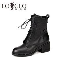 LESELE/莱思丽新款冬季牛皮女靴 圆头高跟短靴粗跟系带时尚靴SZJ61-LD0142