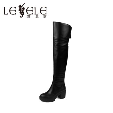 LESELE/莱思丽冬季新款牛皮女靴子 中跟侧拉链圆头真皮长靴LD4109