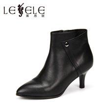 LESELE/莱思丽新款冬季牛皮女靴 圆头拉链细跟短靴高跟职业靴KE61-LD1077