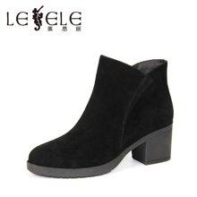 LESELE/莱思丽新款冬季羊猄女鞋 圆头粗跟职业靴加绒高跟短靴KE61-LD0156