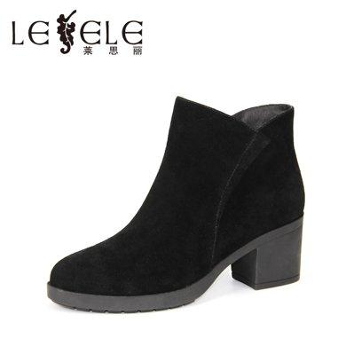 LESELE/萊思麗新款冬季羊猄女鞋 圓頭粗跟職業靴加絨高跟短靴KE61-LD0156