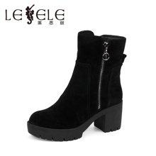LESELE/莱思丽新款冬季牛猄女鞋子 圆头粗高跟时尚靴拉链短靴KE61-LD4104