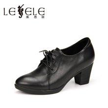 LESELE/莱思丽新款冬季牛皮女靴子 粗跟舒适靴防水台绑带短靴WE61-LD0203
